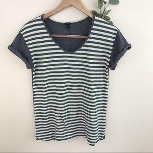 J. Crew Striped Slouchy Olive Ivory Basic T-shirt